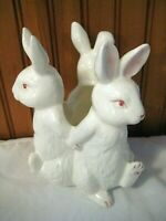 "Vintage White Ceramic Easter Bunny Rabbits 7"" Planter or Vase"