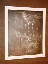 Incisione Gustave Dorè 1880 Bibbia Gesù e ladroni crocifissione Bible Engraving