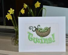 A New Machine Embroidered Hand Finished Birth Card Two Peas in a Pod for Twins.