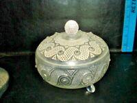 Vintage Avon Footed Round pressed Glass Powder Jar Trinket Candy Dish with Lid