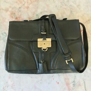 Hugo Boss Black Leather Lockable Shoulder Strap Briefcase Bag