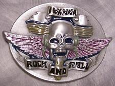 Pewter Belt Buckle music I Wanna Rock and Roll NEW