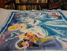 CINDERELLA  BABY QUILT WITH BLUE RUFFED BINDING QUILTED DISNEY CASTLE 36 BY 44
