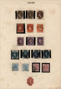 CEYLON: 1867 Victoria Examples - Ex-Old Time Collection - Album Page (38378)