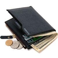 Men's Leather Wallet Money Clip ID Credit Card holder Bifold Coin Purse Pocket