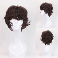 Korean Style Mens Short Curly Wavy Full Wig Hair Handsome Boy Costume Anime Wig