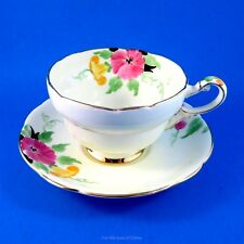 Old Handpainted Pink and Yellow Floral Royal Paragon Tea Cup and Saucer Set