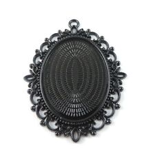 4pcs Black Alloy Oval Cameo Base Setting Lace Pendant Charms Inner 40*30mm 38788