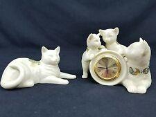 Lenox Jewels Figurines Gold Trim Enamel Cat Family Clock & Cat Reclining