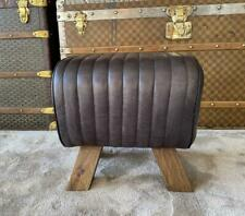 Black Leather Stool / Footstool Wood Legs Pommel Horse Style Retro Vintage