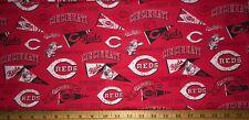 "New Mlb Cotton Fabric 1/4 yard=9 inX44in Cincinnati Reds Los Rojos ""C� Diy Mask"