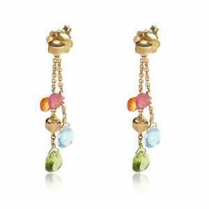 Marco Bicego Paradise Mix Gemstone Earrings in 18kt Yellow Gold