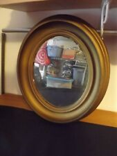 "VINTAGE WOODEN OVAL WALL MIRROR 14 5/8 X 12 5/8"" GOLD FINISH ESTATE FIND"