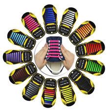 SILIKON SCHNÜRSENKEL 16 Stück elastisch flach Schuhbänder Schuhband Schuhgummis