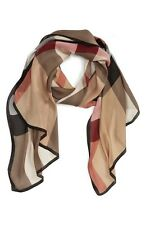 Burberry 'Ultra Mega Check' Washed Mulberry Silk Scarf 190x70cm