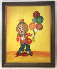 Vintage Scary Clown Creepy Blood Painting On Canvas Original 16x20 Signed 1978