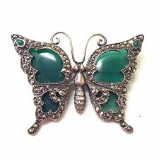 Vintage  Sterling Silver And Marcasite Butterfly Brooch Pin