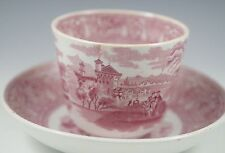 ANTIQUE EDGE AND MALKIN RED-PINK COMO TRANSFERWARE HANDLELESS CUP AND SAUCER