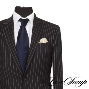 #1 MENSWEAR Polo Ralph Lauren 100% CASHMERE Navy Gangster Stripe Suit Italy 38
