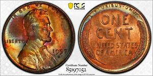 1957-D LINCOLN WHEAT CENT PCGS MS64RB UNC CRESCENT COLOR INCREDIBLE TONED