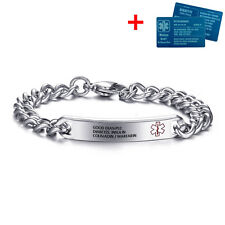 Personalized Medical Alert Bracelets Emergency Medical ID & Aluminium Card