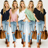 Womens Loose Twisted Ladies Cropped Blouse Casual Tee Shirt Baggy Pullover Tops