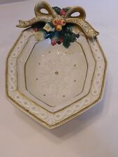 Fitz & Floyd Snowy Woods Serving Dish Octagonal Vegetable/Candy Bowl Christmas