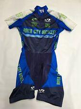 Womens VOLER Blue Biking Cycling Padded Ion Full Suit Sz S Cut Sleeves