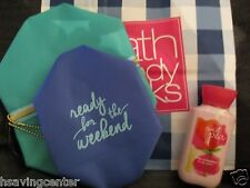 "Bath & Body Works ""Ready for the Weekend"" Set of 2 zippered cosmetic bags+ BONUS"
