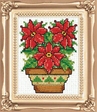 Cross Stitch Kit Design Works Christmas Poinsettias Picture w/Frame & Mat #DW594