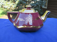 Hall China BALTIMORE TEAPOT, MAROON/GOLD LABEL....reducing PREMIER collection!