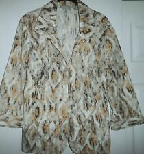 CHICO'S OPEN JACKET MULTI-COLORS BROWNS & YELLOW 3/4 SLEEVE SIZE 2 SO NICE!