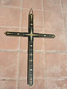 "CROSS SCULPTURE 36""x25 3/4"" STRAW APPLIQUE DESIGN & WOOD MEL RIVERA SANTA FE, NM"
