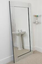 Large Wall Mirror Modern Silver Bevelled All Glass 5Ft8 X 2Ft9 174cm X 85cm