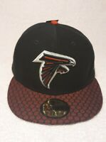New Era NFL Atlanta Falcons Sideline 59FIFTY Fitted Cap Hat Black Red 7 1/4