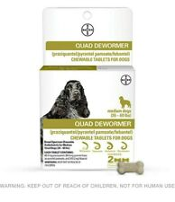 Bayer Quad Chewable Dewormer for Medium Size Dogs. 2- Chewable Tablets.