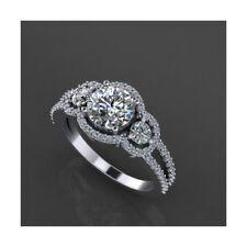 Three Stone 14K White Gold Over 3CT Diamond Split Shank Engagement Ring