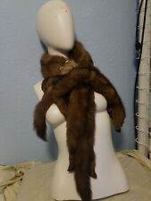 Vintage Fur Stole Wrap Boa Scarf-3 Pelts-All Intact-Mink