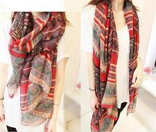 Fall Winter Women's Printing Fashion Long Big Soft Voile Ethnic Shawl Wrap Scarf