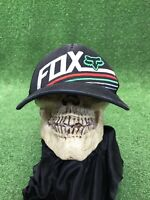 Fox Racing Motocross Black Flex Fit Fitted Hat Cap Red Green Size L/XL Mesh