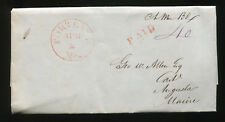 (1855) paid 40¢ Stampless cover Portland Me. to Augusta Maine