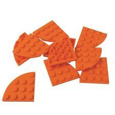 10 New Lego Plate, Round Corner 4 x 4 Orange