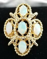 Vintage Ladies Opal Ring, Heavy 11.1 grams 14kt Yellow Gold Stunning Opals FrShp