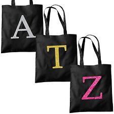 Single Letter GLITTER Printed Black Tote Bag - Alphabet A-Z Initial Shopper Bags