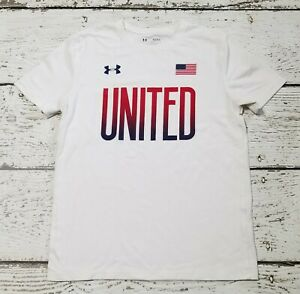 UNDER ARMOUR Boys White Red Blue United Flag Short Sleeve Shirt Youth Large YLG