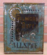 Antique 19c Gilmore & Duffy Scranton Pa Allspice Tin Container Pantry Spice Box