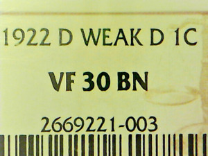 "FINAL REDUCTION!  Lincoln Cent 1922-D ""WEAK D"" NGC VF30"