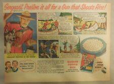 Quaker Cereal Ad: Sergeant Preston Puffed Wheat Ad ! 1950's 7 x 10 inches