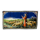 """Vintage Jesus Shepherd Tapestry 20""""x38"""" Blue WLP 13379 Made in Italy Wall Decor"""