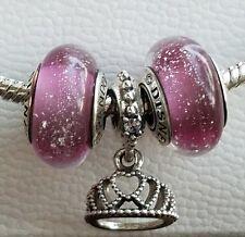 lot of 3 Pandora Disney, ANNA frozen 2 pink murano charms & tiara heart dangle